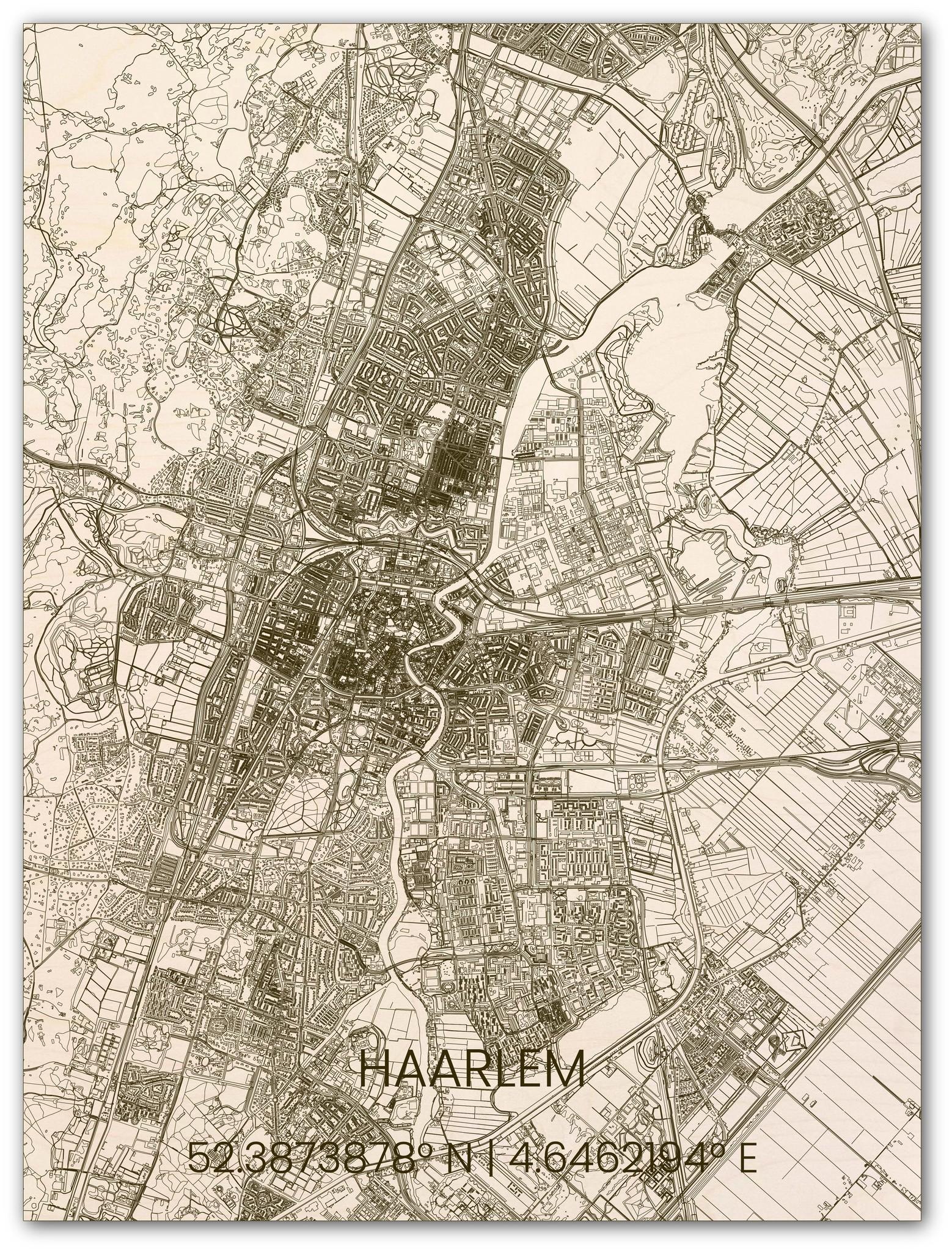 Houten stadsplattegrond Haarlem-1