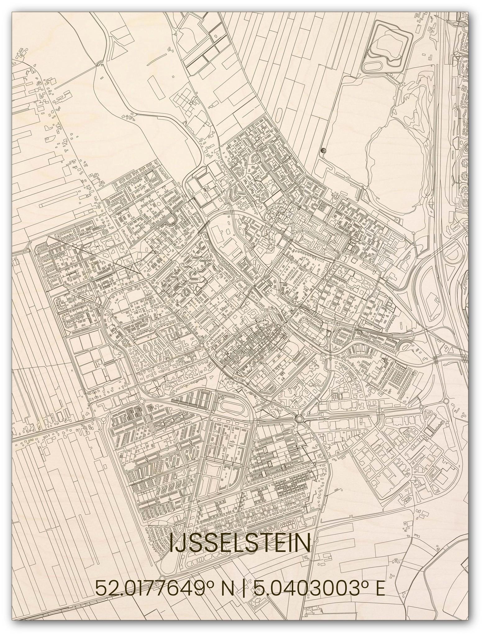 Houten stadsplattegrond Ijsselstein-1