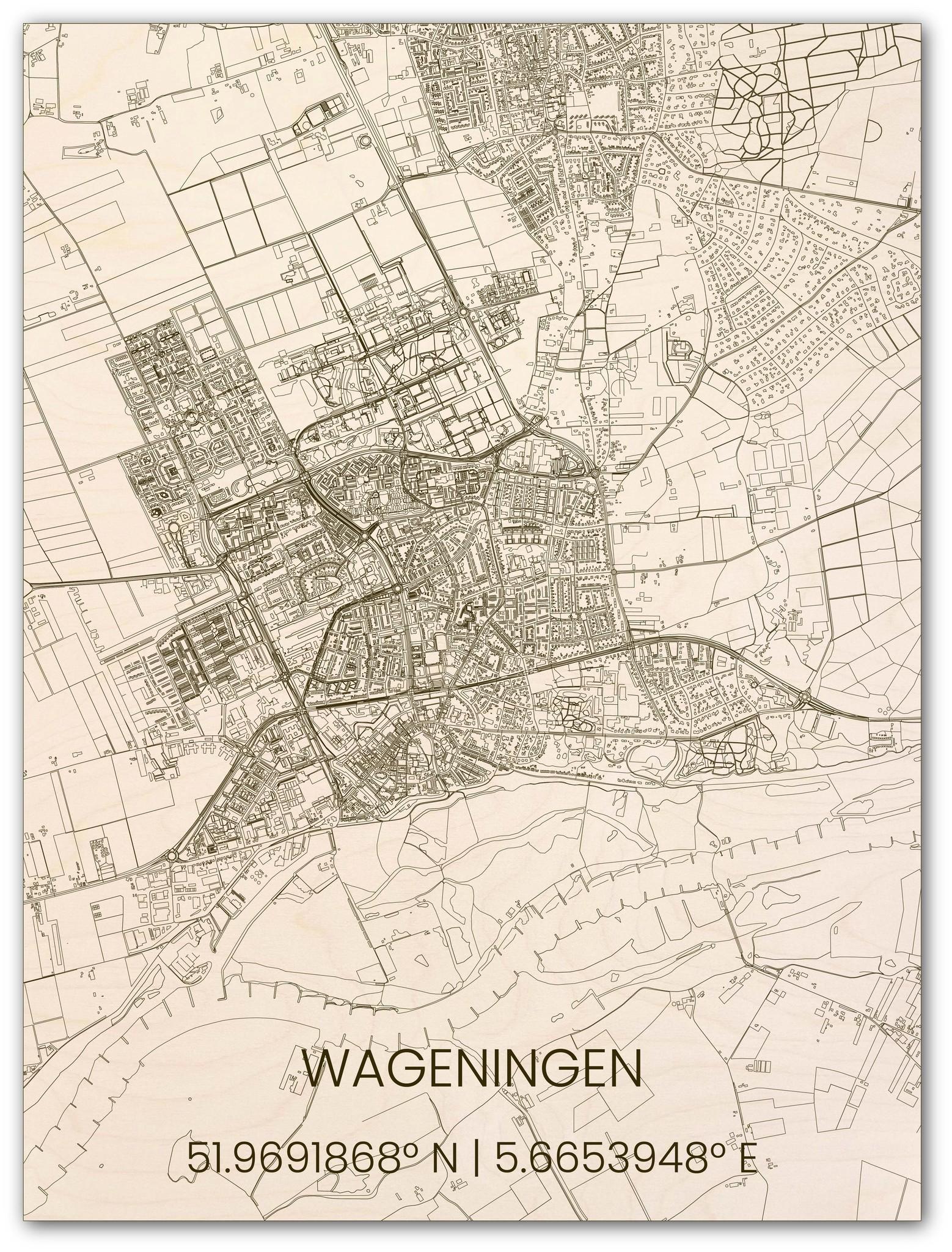 Houten stadsplattegrond Wageningen-1