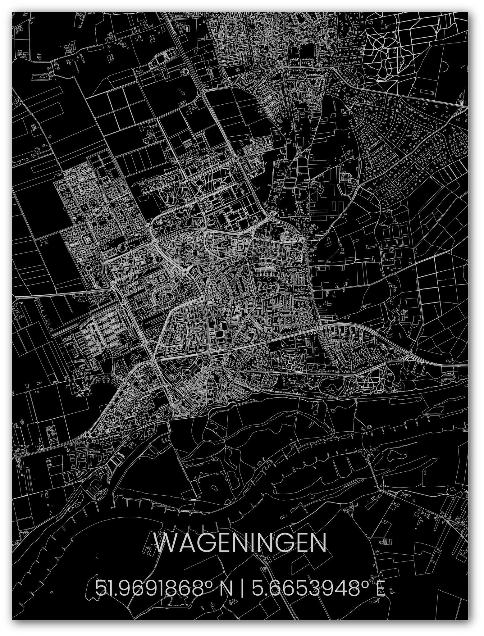 Metal citymap Wageningen-1