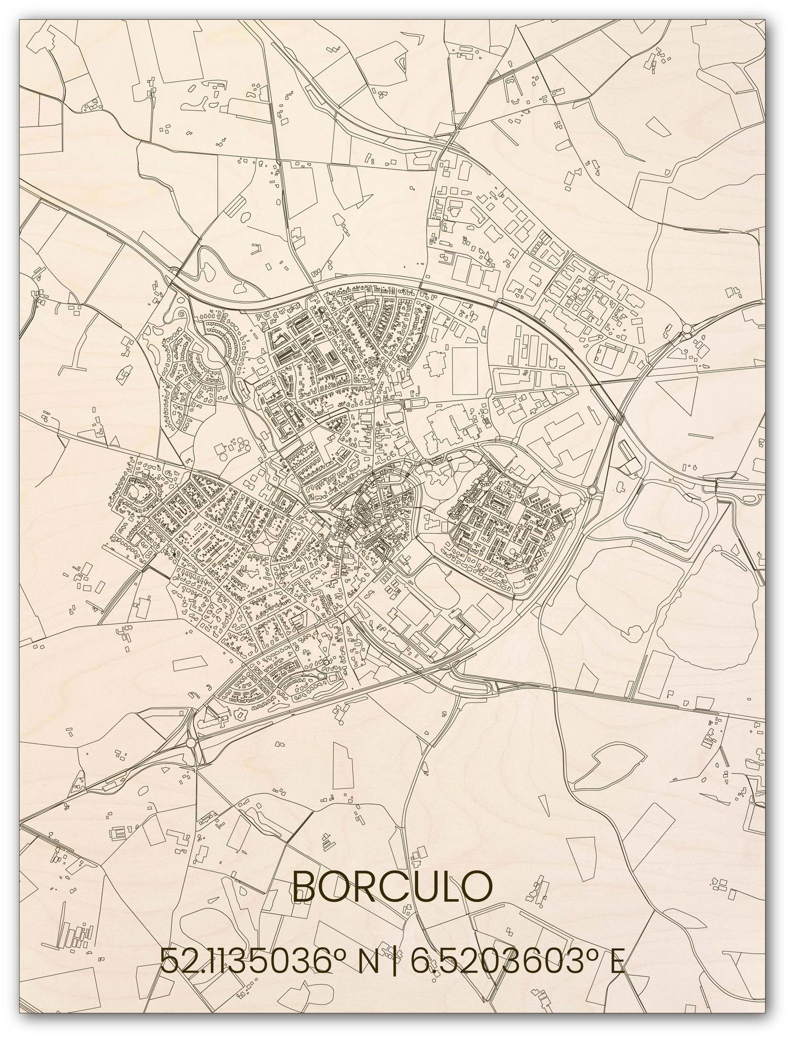 Wooden wall decoration citymap Borculo-1