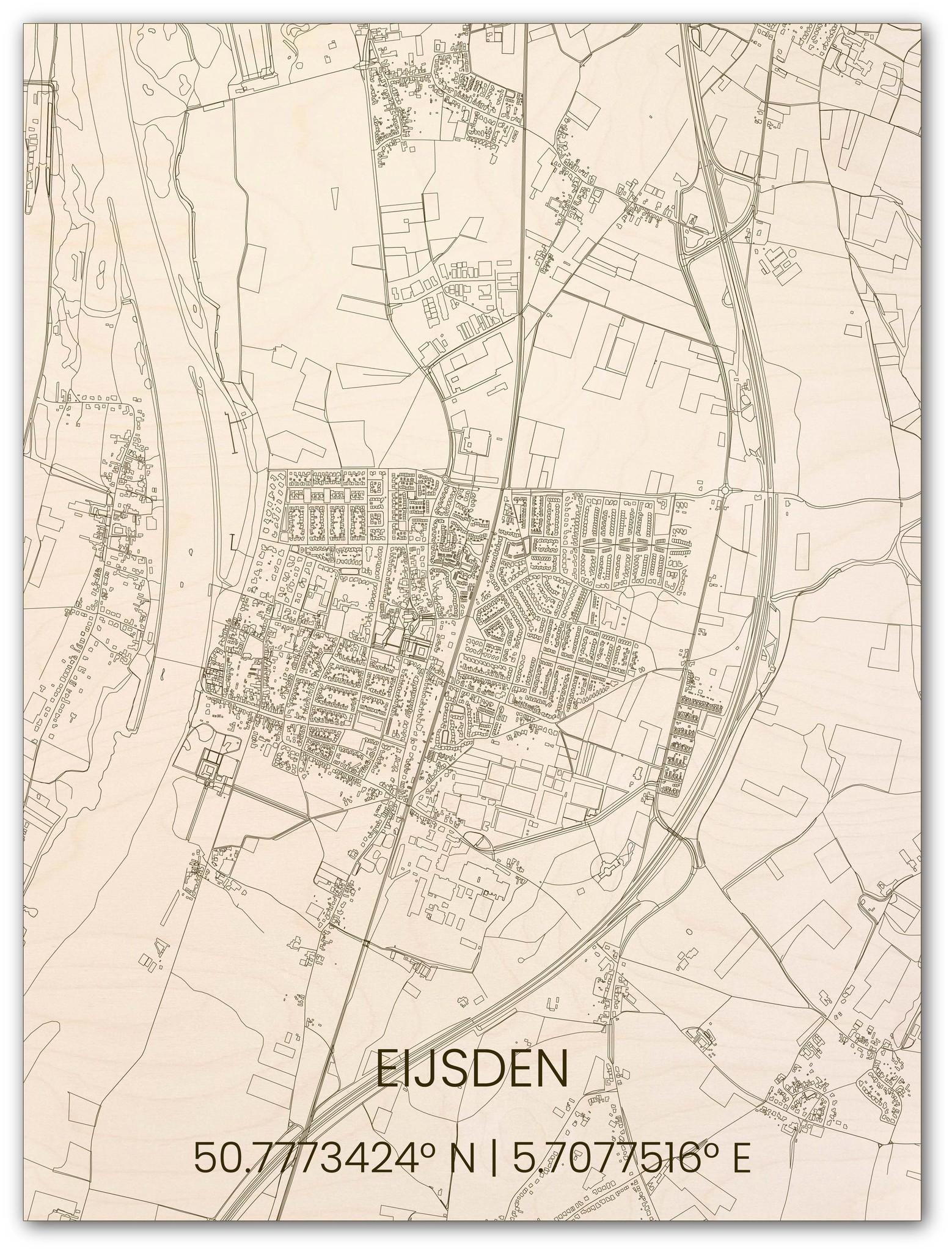 Houten stadsplattegrond Eijsden-1