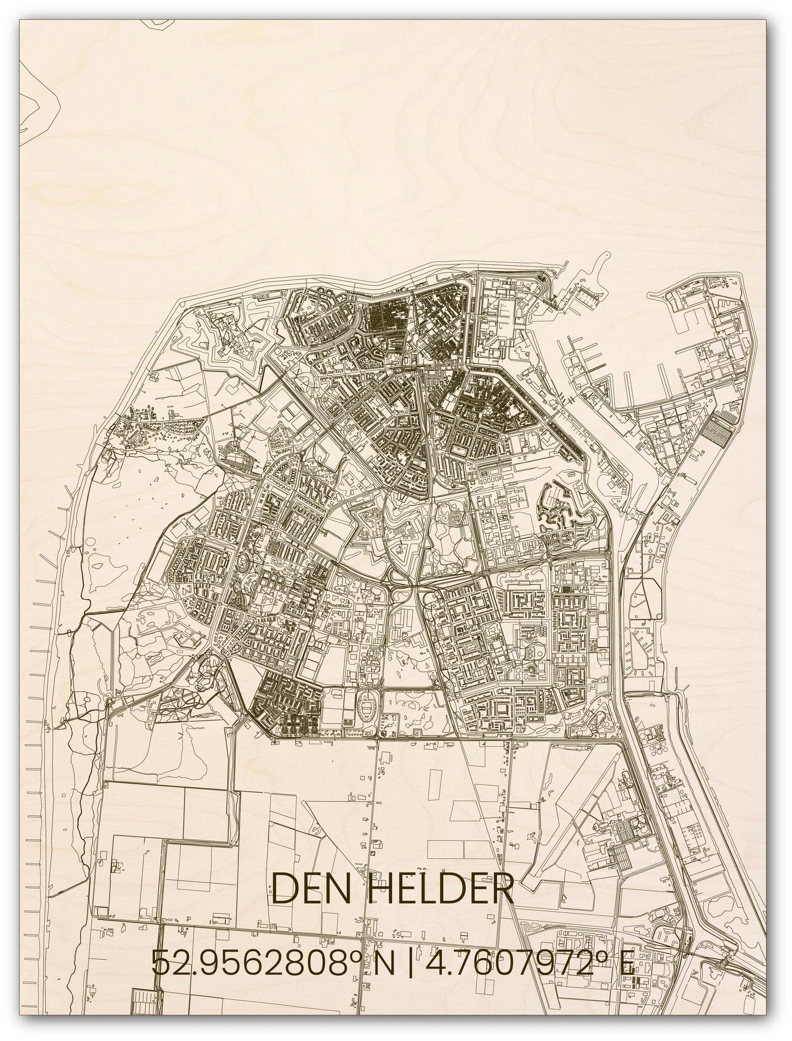 Houten stadsplattegrond Den Helder-1