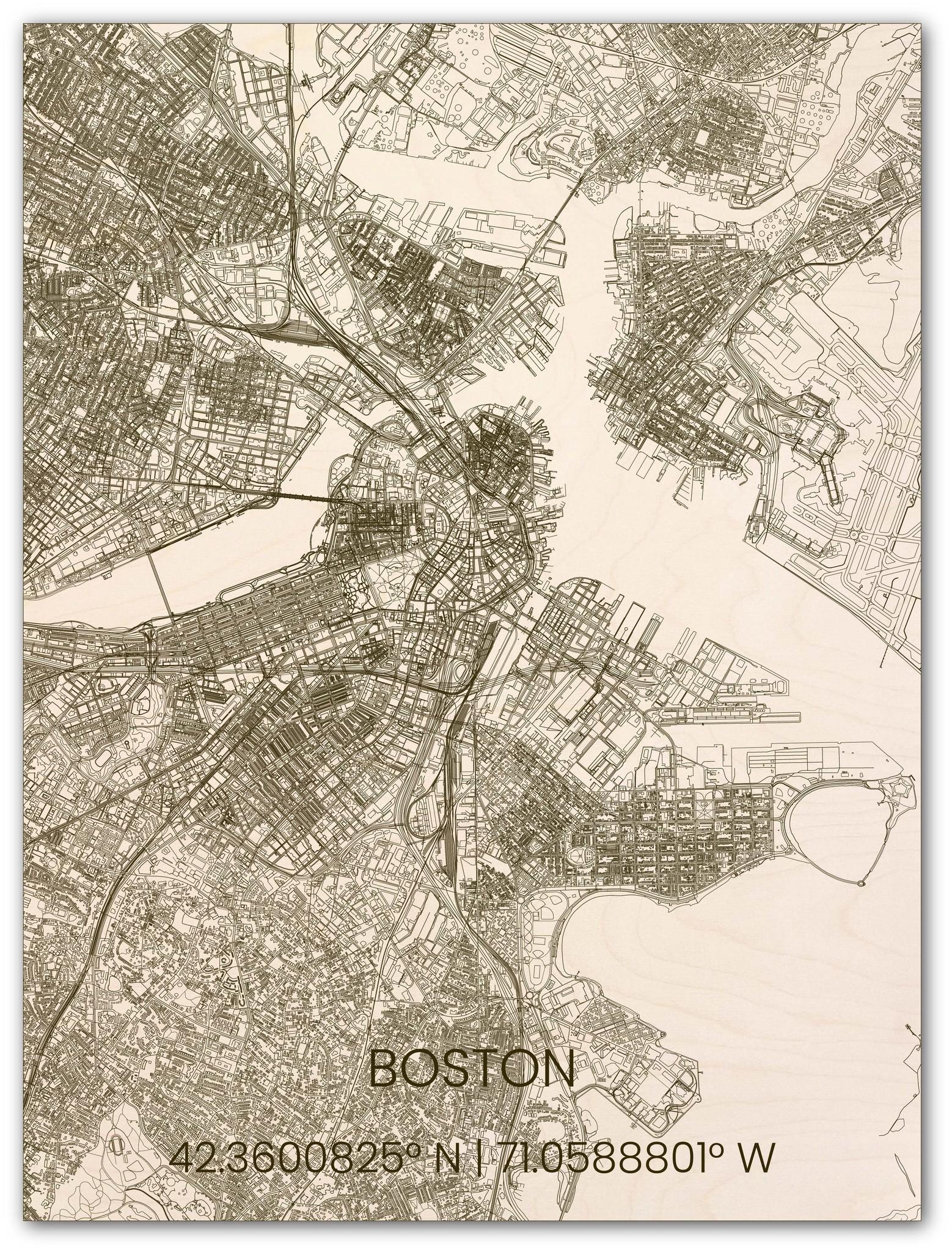 Houten stadsplattegrond Boston-1