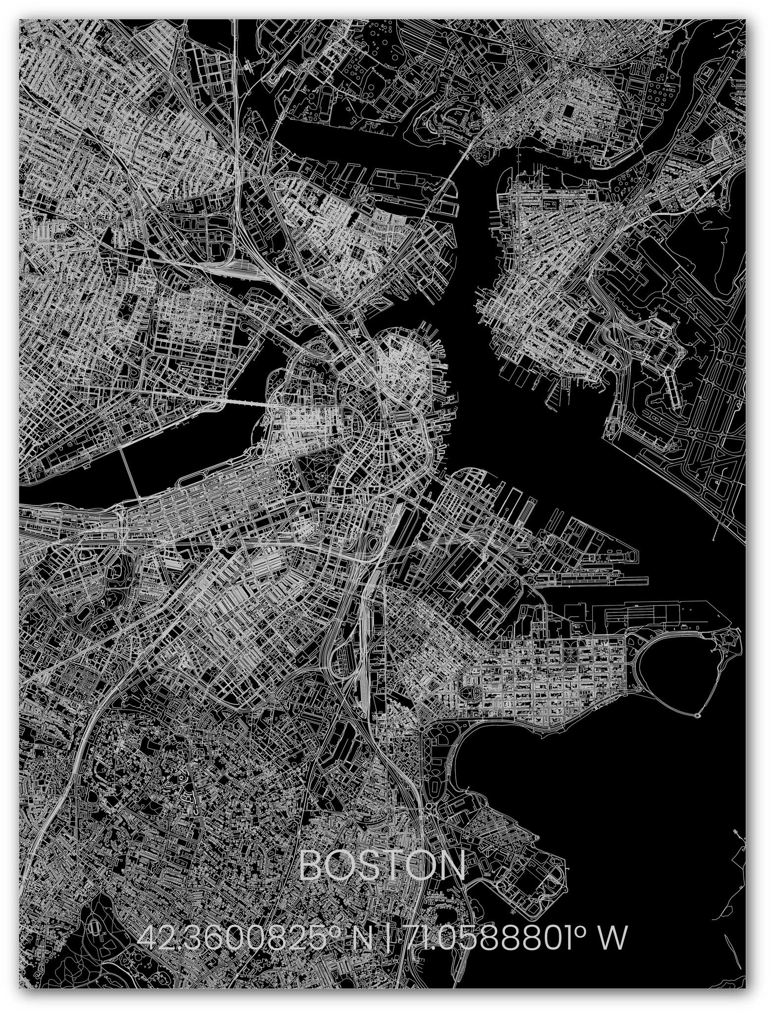 Metalen stadsplattegrond Boston-1