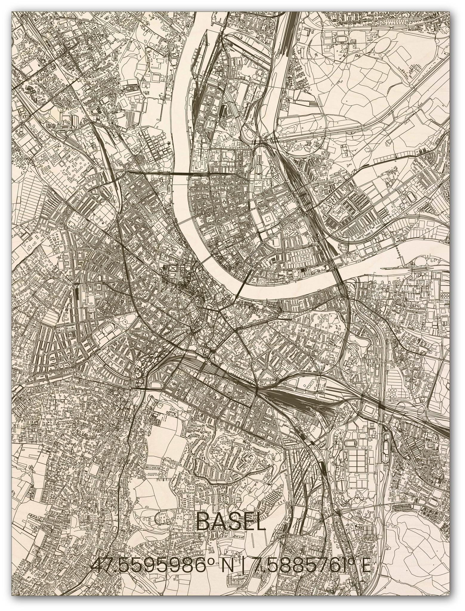 Houten stadsplattegrond Basel-1