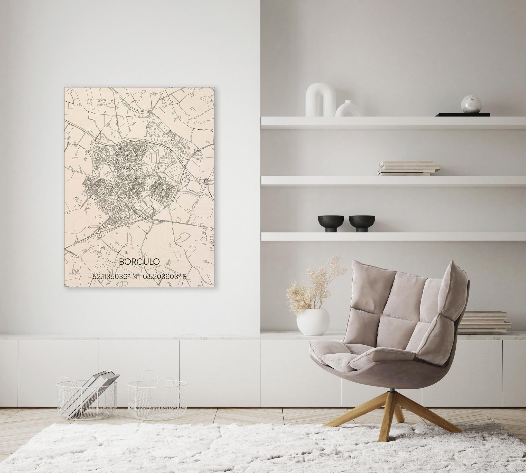 Wooden wall decoration citymap Borculo-2