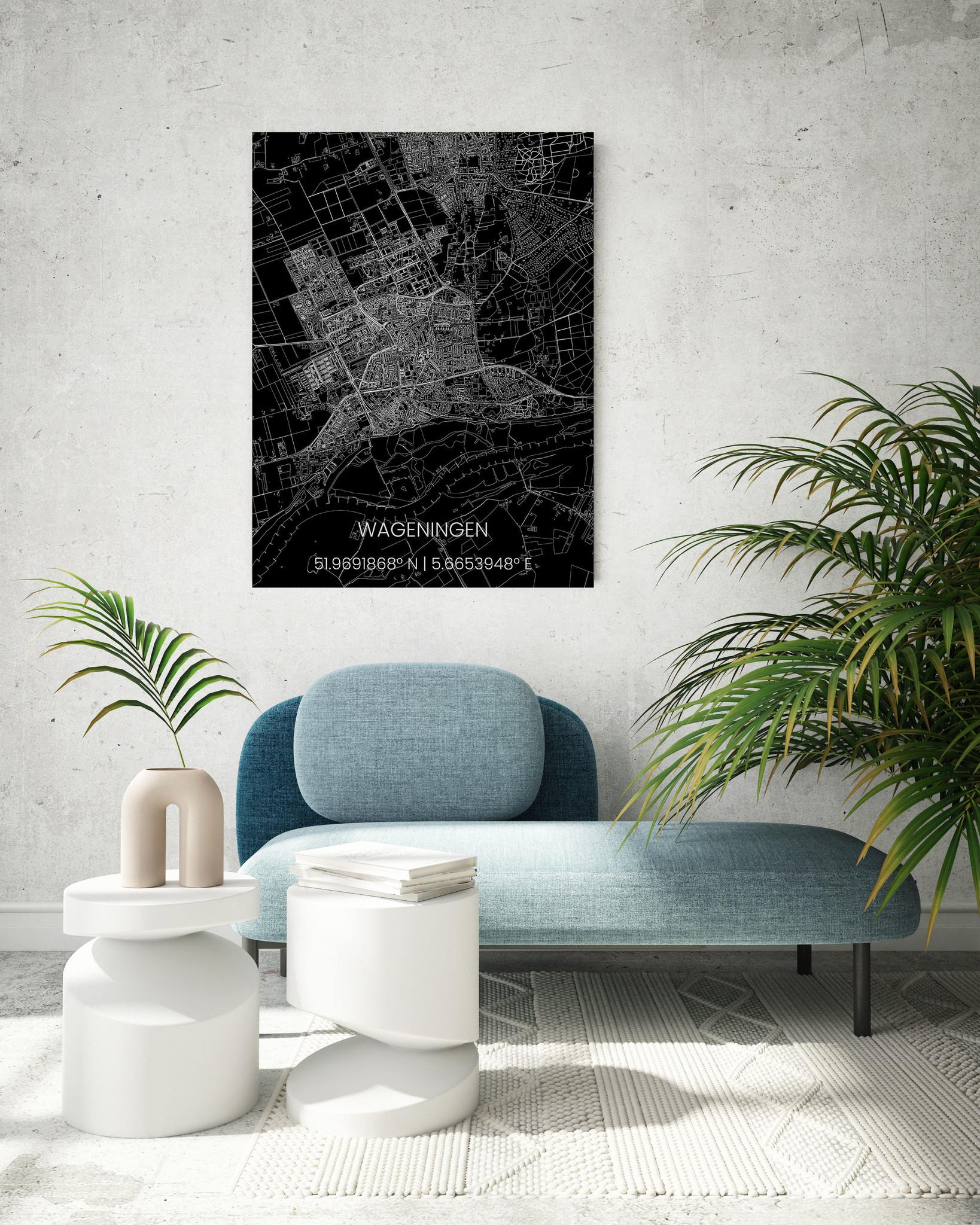 Metal citymap Wageningen-2