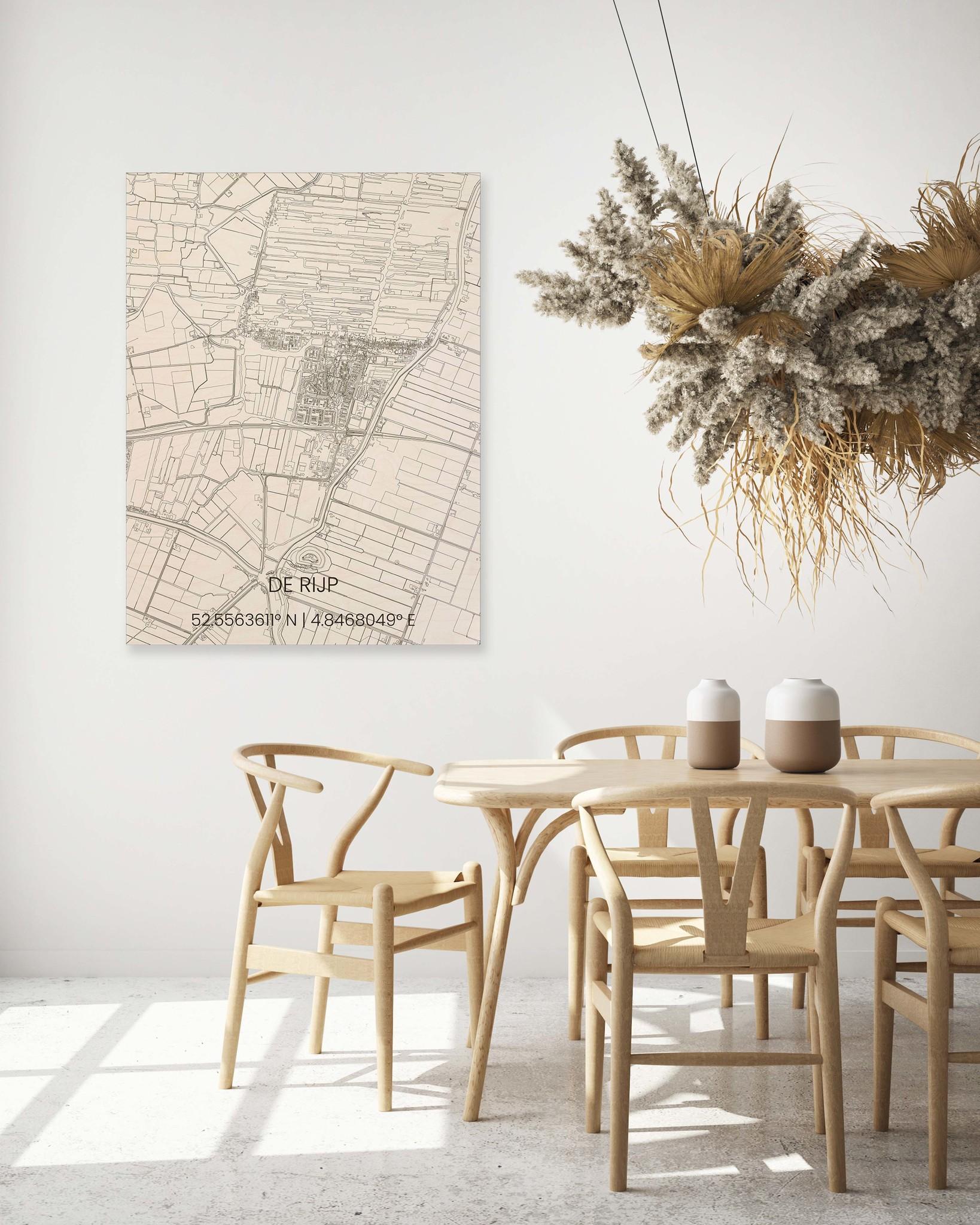 Wooden wall decoration citymap De Rijp-2