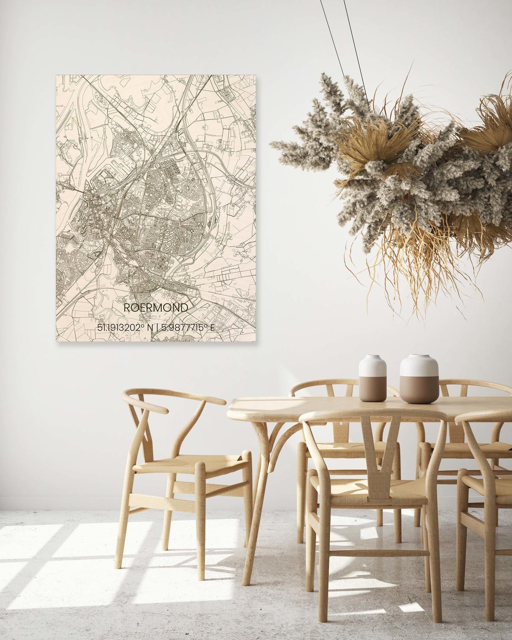 Wooden wall decoration citymap Roermond-2