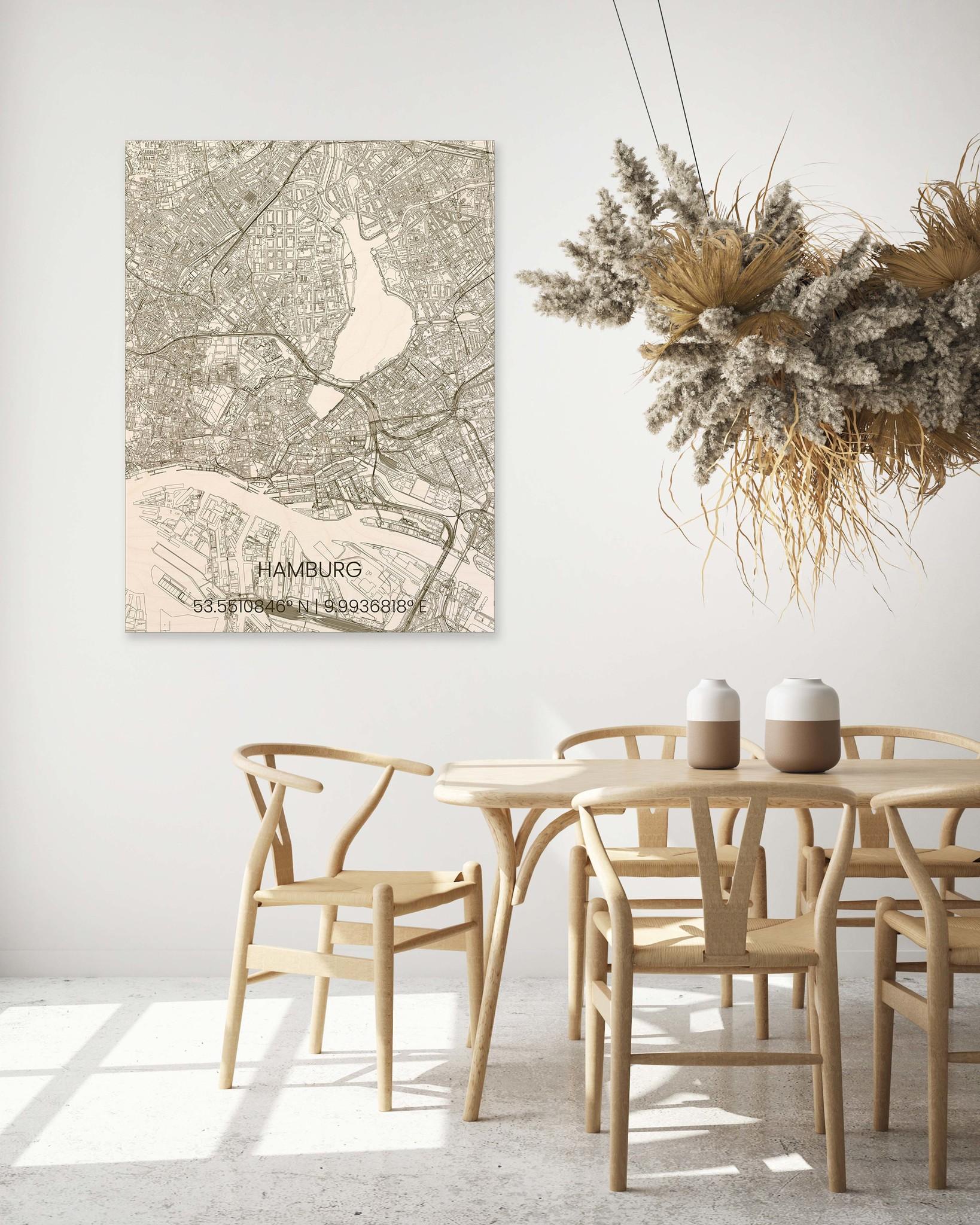 Wooden wall decoration citymap Hamburg-2