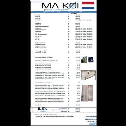 Preisliste Makoi Teichfiltration Trommelfilter und Ilex Filter
