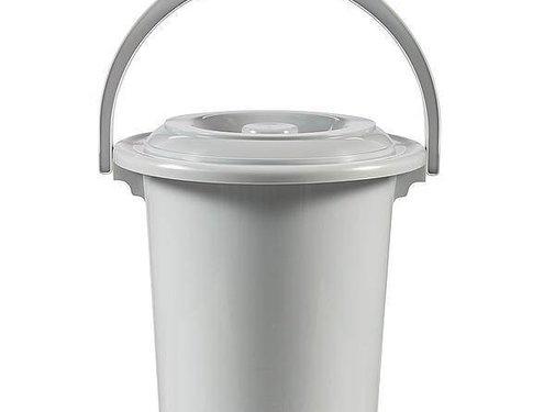 Curver Curver - Toiletemmer met deksel - 10 Liter - Ø 31 cm - Lichtgrijs