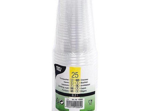Papstar Papstar - Limonadebeker - Plastic - 25 Stuks - Transparant