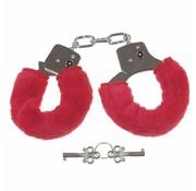 MFH Outdoor Handboeien 'Fun' verchroomd met 2 sleutels met rood kunstbont