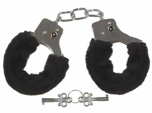 MFH Handboeien 'Fun' verchroomd met 2 sleutels met zwart kunstbont