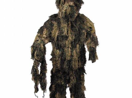 MFH Camouflage pak 'Ghillie Suit' (Jas broek en hoed) woodland
