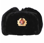 MFH Russische bontmuts zwart met embleem