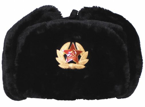 MFH Outdoor Russische bontmuts zwart met embleem
