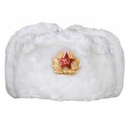 MFH Outdoor Russische bontmuts wit met embleem
