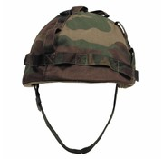 MFH US Army helm, kunststof met hoes, woodland camouflage