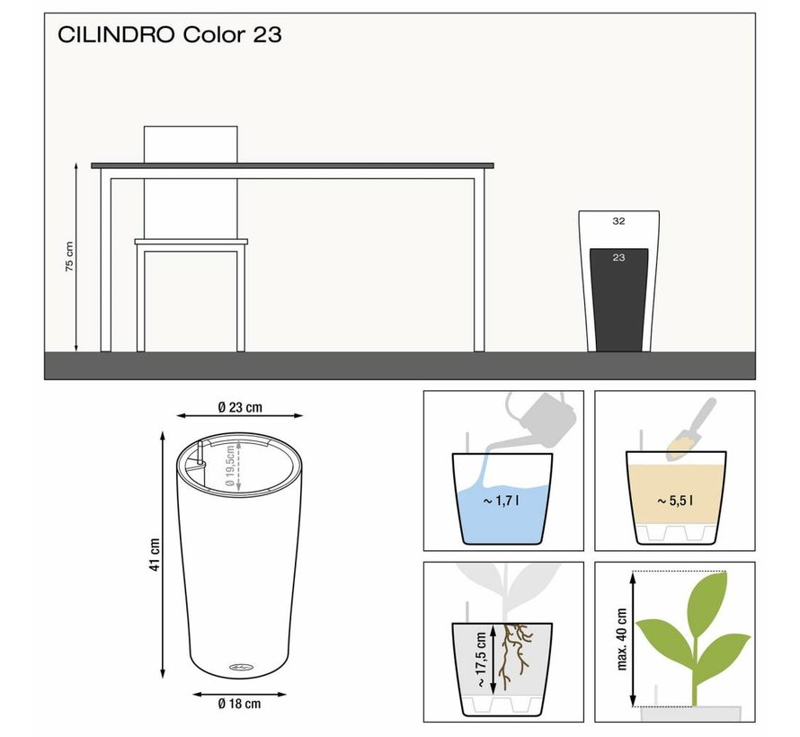 Lechuza - CILINDRO Color 23 Wit ALL-IN-ONE