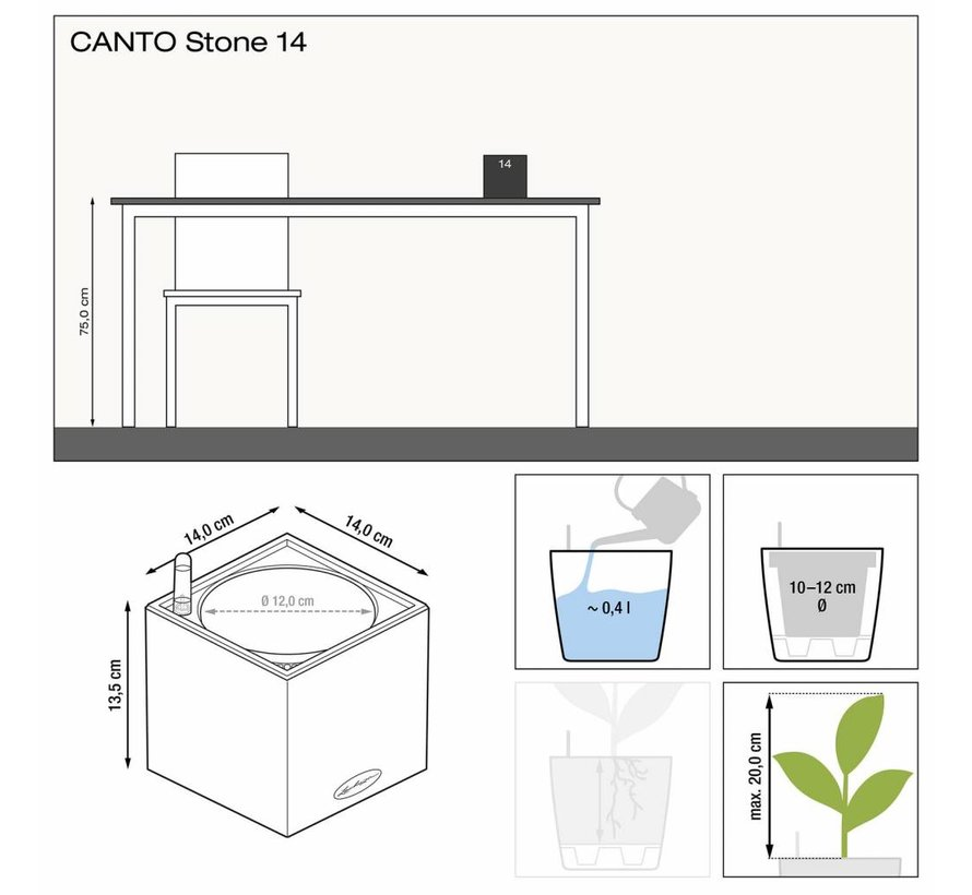 Lechuza - tafelpot CANTO STONE 14 Zandbeige ALL-IN-ONE set