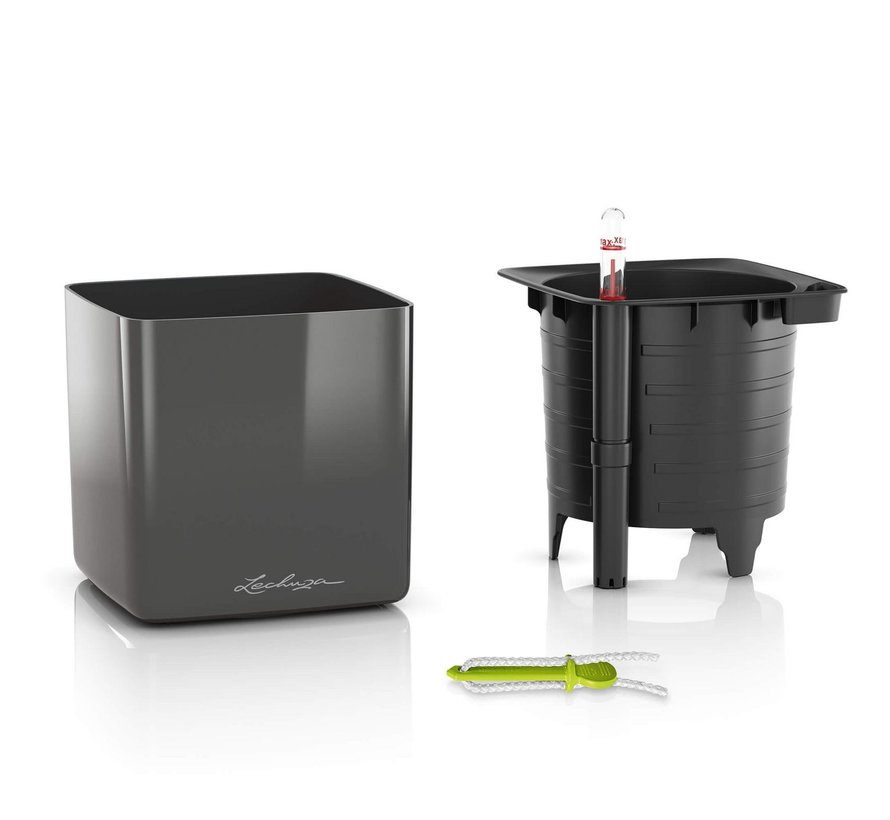 Lechuza - CUBE GLOSSY 14 titanium dust hoogglans ALL-IN-ONE - WINTEREDITION -