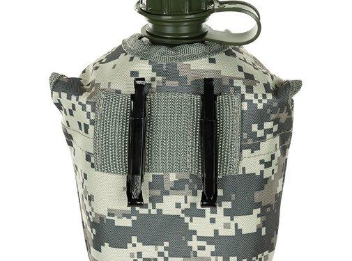 MFH US Army kunststof veldfles, 1 liter, hoes, AT-digital, BPA-vrij