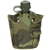 MFH US Army kunststof veldfles, 1 liter, hoes, M 95 CZ camouflage, BPA-vrij