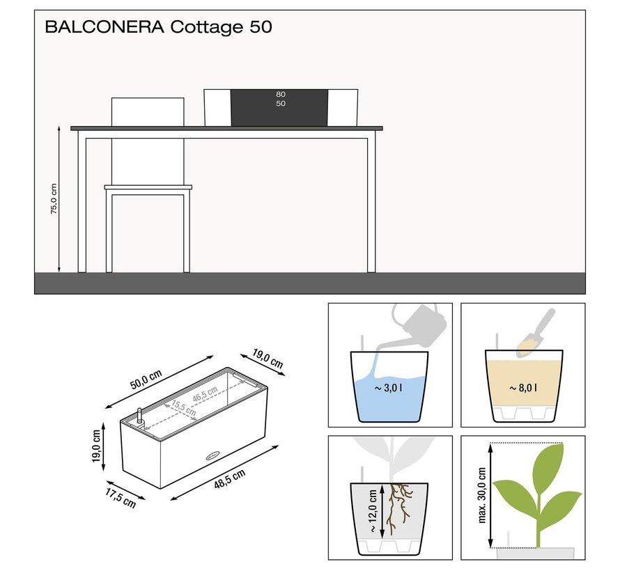Lechuza - plantenbak BALCONERA COTTAGE 50 graphite black ALL-IN-ONE set