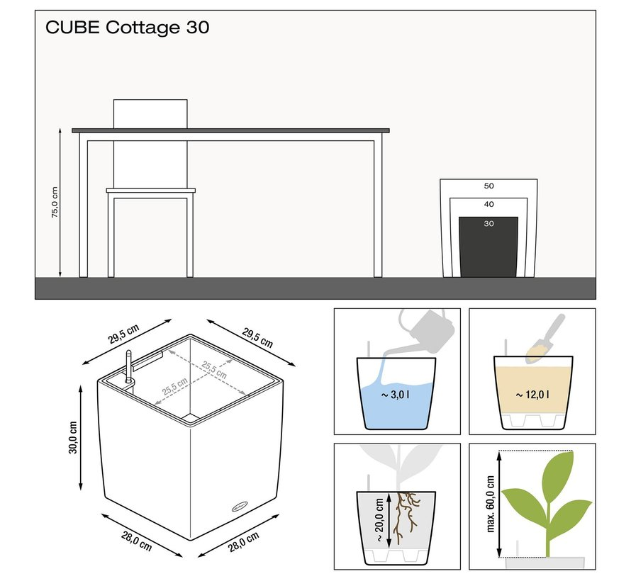 Lechuza - CUBE COTTAGE 30 graphite black ALL-IN-ONE set