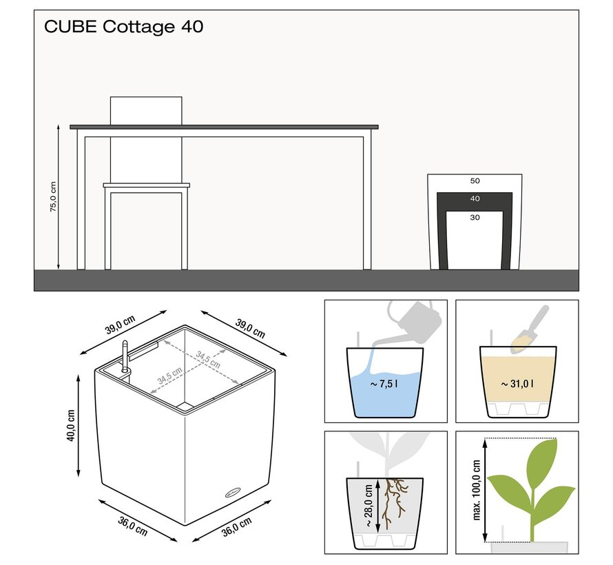 Lechuza - CUBE COTTAGE 40 graphite black ALL-IN-ONE set