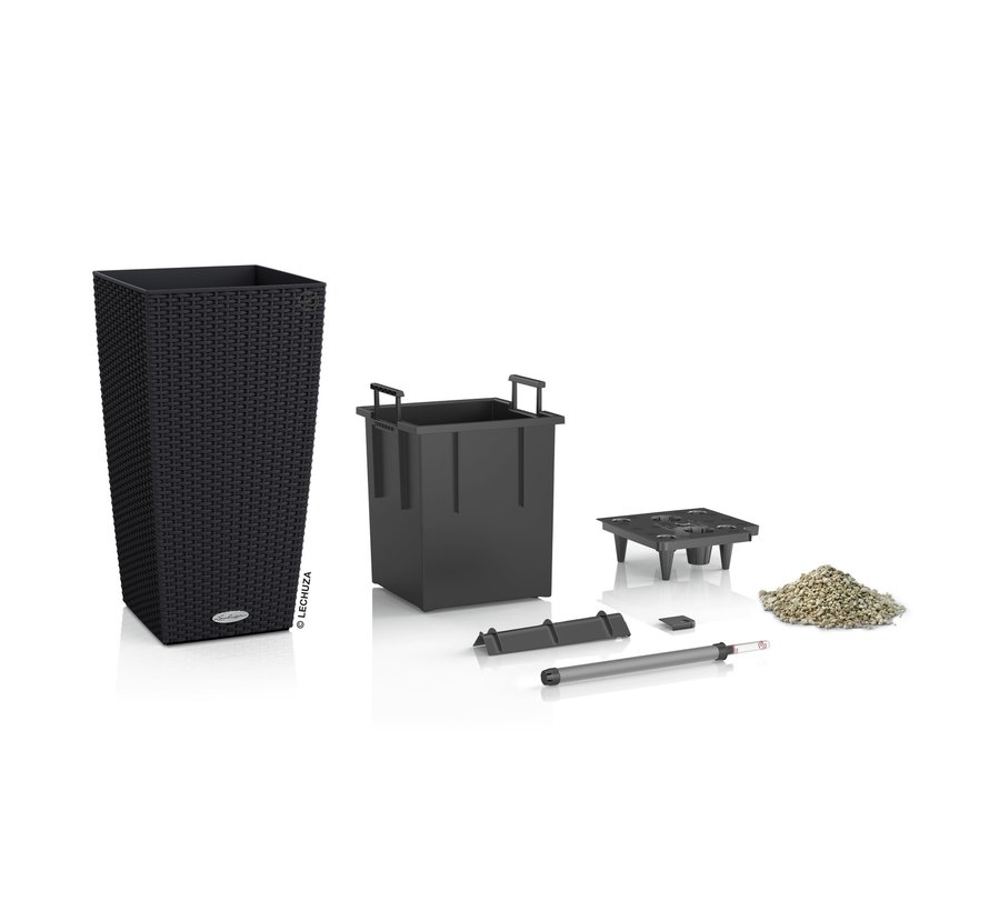Lechuza - CUBICO COTTAGE 40 graphite black ALL-IN-ONE set