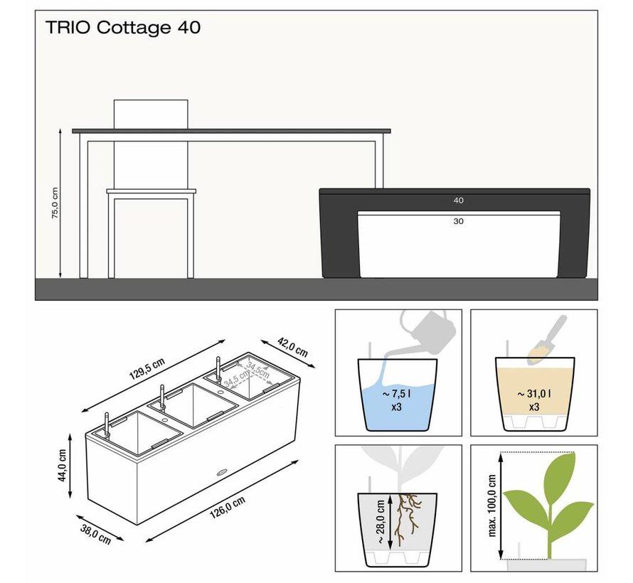 Lechuza - Trio Cottage 40 graphite black ALL-IN-ONE set