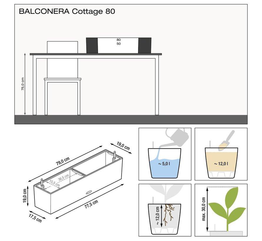 Lechuza - Balconera Cottage 80  graphite black ALL-IN-ONE set