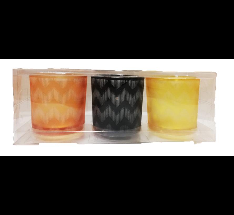 Windlichten - Theelichten - Set van 3  - Geel, Oranje, Zwart