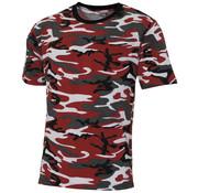 "MFH Outdoor MFH - US T-Shirt -  ""Streetstyle"" -  rot-camo -  140-145 g/m²"