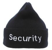 "MFH Outdoor MFH - Gebreide muts  -  Zwart  -  ""Security"" borduring  -  100% Acryl"