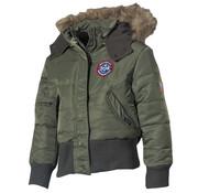 MFH Outdoor MFH - US kinder jas  -  N2B  -  Legergroen  -  Met bontkraag capuchon