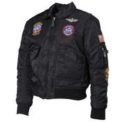 MFH Outdoor MFH - US Kinder Pilotenjack  -  Zwart  -  Met patches