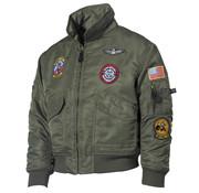 MFH Outdoor MFH - US Kinder Pilotenjack  -  Legergroen  -  Met patches