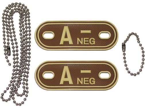 """MFH Outdoor MFH - Bloedgroep markers  -  met kettingen  -  Woestijn  -  """"A NEG""""  -  3d"""