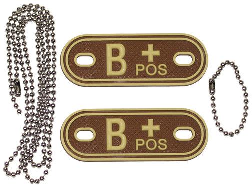 """MFH Outdoor MFH - Bloedgroep markers  -  met kettingen  -  Woestijn  -  """"B POS""""  -  3d"""