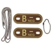 """MFH Outdoor MFH - Bloedgroep markers  -  met kettingen  -  Woestijn  -  """"B NEG""""  -  3d"""
