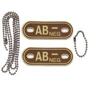 "MFH Outdoor MFH - Bloedgroep markers  -  met kettingen  -  Woestijn  -  ""AB NEG""  -  3 D"