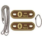 """MFH Outdoor MFH - Bloedgroep markers  -  met kettingen  -  Woestijn  -  """"O NEG""""  -  3d"""