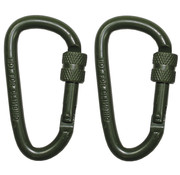 MFH Outdoor MFH - Carabiner  -  schroefslot  -  D 6 mm x 6 cm  -  2-pack  -  OD groen
