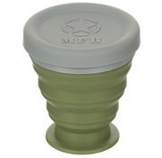 MFH MFH - Faltbecher -  mit Deckel -  Silikon -  oliv -  200 ml