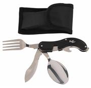 Fox Outdoor Fox Outdoor - Pocket Knife Bestek Set  -  4 in 1  -  Zwart  -  Deelbaar